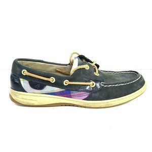 Sperry Top Sider 9.5 Navy Leather Silver Plaid Lac